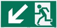 Rettungszeichen Rettungsweg links abwärts nach ISO 6309