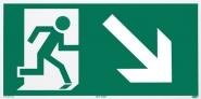 Rettungszeichen Rettungsweg rechts abwärts nach ISO 6309
